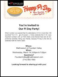 pi day invitation pi day is coming mathnasium