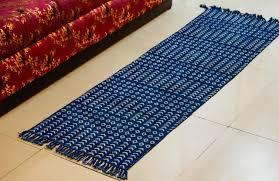 reversible block print cotton dhurrie runner dr27