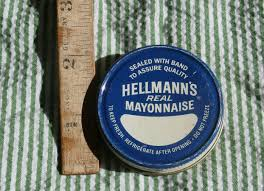 Hellmans Light Mayo Barcode Vintage Hellmanns Real Mayonnaise Metal Jar Lid Blue And
