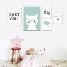 2018 kawaii baby nursery wall art canvas painting cartoon posters and prints nordic kids decoration pictures baby bedroom decor from aliceer