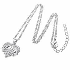 cat lady crystal heart pendant link chain