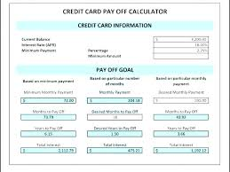 Calculator Credit Card Payment Credit Card Interest Calculator Excel Template