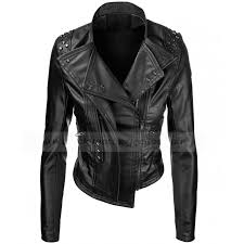 womens black faux leather motorcycle rider jacket