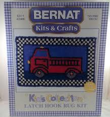 my fire truck latch hook rug kit 422408 bernat kids collection crafts