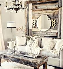 rustic living room ideas pallet inspired wooden hanging with mirror small modern rustic living room