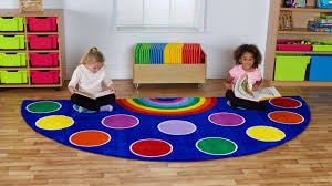 rainbow semi circle classroom carpet