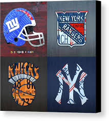 new york canvas print featuring the mixed media new york sports team license plate art giants wall view 001 on yankees canvas wall art with new york sports team license plate art giants rangers knicks yankees
