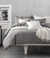bedding set hotel 100 washed cotton solid gray color duvet cover set fitted sheet set queen king free fast no4 blue and gray bedding grey and blue