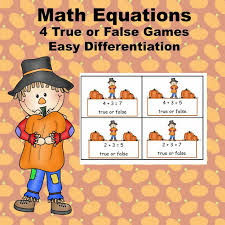 math equations four true or false on two levels fall scarecrow theme