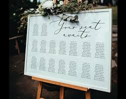 Wedding Seating Chart Sign Horizontal Seating Chart Template Wedding Seating Chart