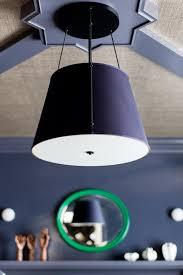 drum pendant light in navy blue study