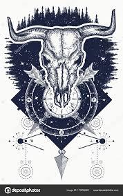 череп быка лес компас тату футболку дизайн дикий запад искусства