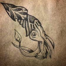 эскиз кальмар тату татуировка Linework Dotwork Sketch Tattoo