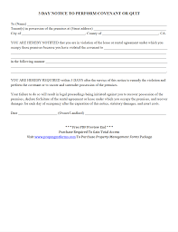 Lease Violation Form 3 Day Notice To Perform Covenant Or Quit Pdf Property Management