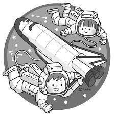 スペースシャトルと宇宙服のこどもイラストモノクロ 子供と動物の
