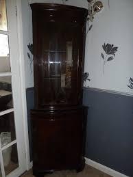 Dark mahogany furniture Paint Dark Mahogany Wood Glass Fronted Bow Corner Display Cabinet Centimet Decor Dark Mahogany Wood Glass Fronted Bow Corner Display Cabinet In