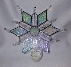 stained glass diamond snowflake night light