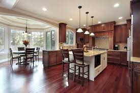 Combination of White Kitchen with Dark Wooden Floor Dark Wooden