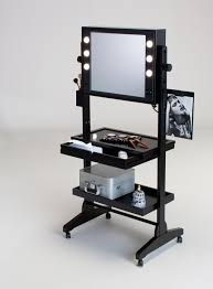 Professional Makeup Steel Swivel Vanity Racks With Lights Framing Mirror  Featuring Sliding Out Drawer And Bottom Open Rack