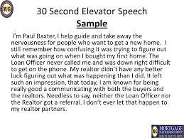 30 Sec Elevator Speech 30 Seconds Elevator Speech Examples