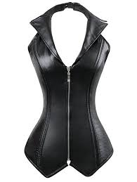 outfits halter zip up faux leather corset top