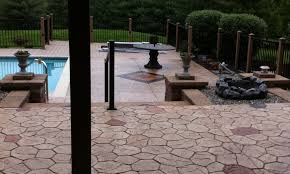 Project was completed by Morrison Custom Concrete. Stamped Concrete Patio,  Steps, pool deck