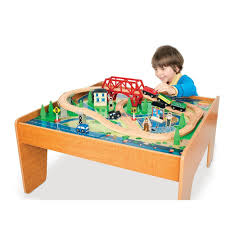 Train Set Table With Drawers Amazoncom Imaginarium Train Set With Table 55 Piece Toys Games