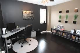 instead of painting your entire office in one single color you liven up the space by adding an accent wall in a contrasting color