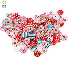 <b>Shuan Shuo</b> 15mm 2 Eyes Printed Flowers Round Wooden Buttons ...