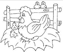 Small Picture Coloring Pages Family Chicken in Farm Animal Coloring Pages