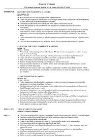 Event Marketing Manager Resume Samples Velvet Jobs