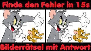 Tom und Jerry Bilder Rätsel 😸🐭 Bilder Quiz 👍 TOM & JERRY Quiz 😸&🐭  finde den Unterschied - YouTube
