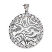 sterling silver custom fingerprint round pendant with cubic zirconias pg93878