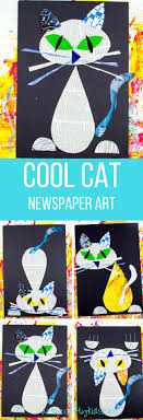 Cool Cat Newspaper Art Project for Kids