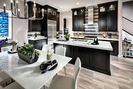 dark kitchen cabinets with white super glass and hardware light grey countertops