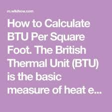 British Thermal Unit Btu Chart