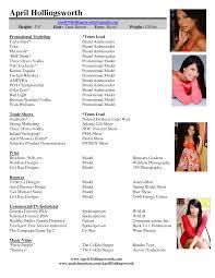 Endearing Promo Model Resume Sample for Models Resume