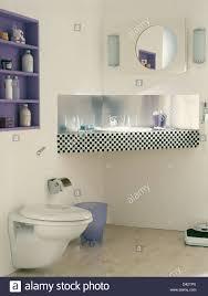 Stainlesssteel Splash Back And Blackwhite Tiled Edging On Vanity - Bathroom splashback