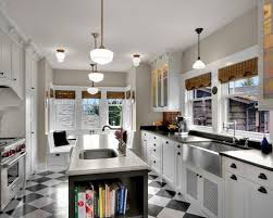 galley kitchen with island layout