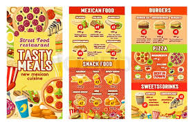 mexican food menu design. Contemporary Menu Fast Food Restaurant Menu Design Template For Street Food Burgers Or Pizza  And Mexican Cuisine Vector Price Fastfood Cheeseburger Sandwich  To Food Menu Design T