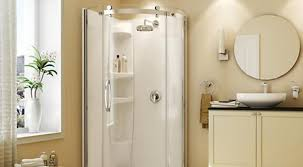 corner shower in the color white