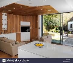 House And Garden Kitchens Sitting Area In Open Plan Kitchen With View To Garden Uk Home