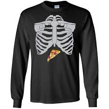 Skeleton Design T Shirt Pizza Skeleton Halloween Design T Shirt Long Sleeve Hoodie