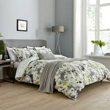 grey yellow fl duvet covers sanderson simi bedding