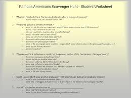 Famous Americans Scavenger Hunt - ppt download