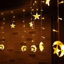 6m 168 led light string star moon shape curtain light 220v home decor celebration festival