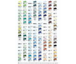 Copic Colour Chart Zartart Catalogue