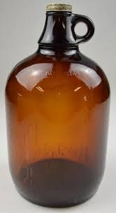 vintage one gallon brown glass handled jug with lid no b1175 11 75 tall