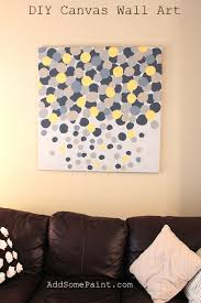 living room wall decor with diy yellow grey abstract painted painting canvas and bron leather sofa