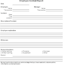 Employee Incident Report Form Template Police Example